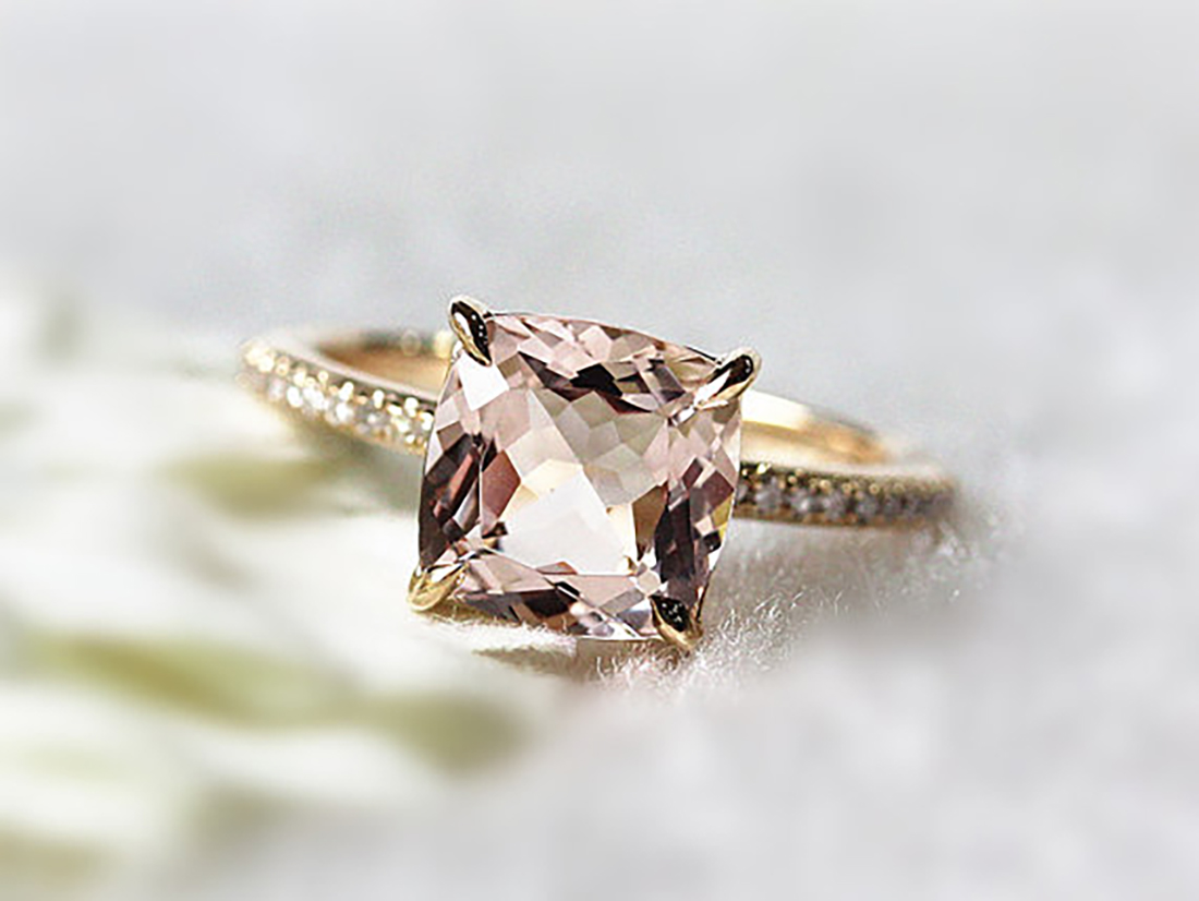 Pink Morganite Engagement Ring Honeybrides