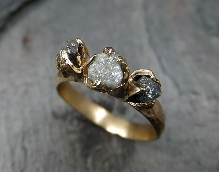 Rough Uncut Diamond Engagement Ring Etsy
