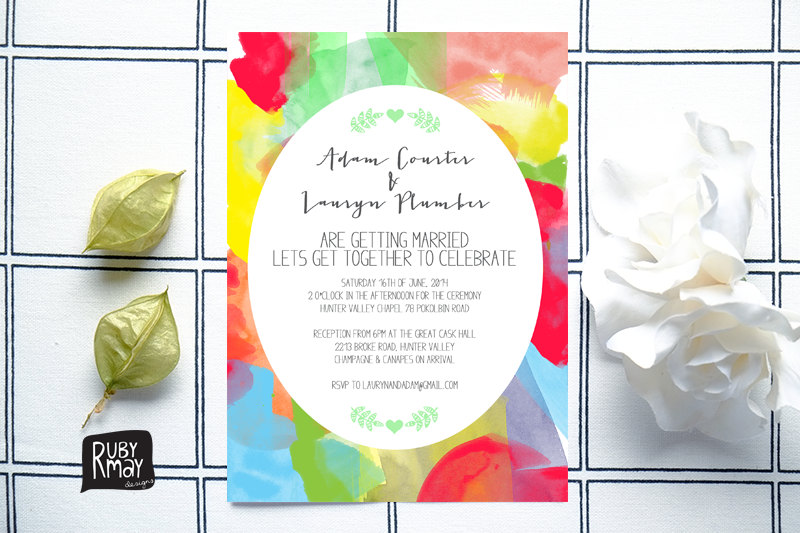 Colourful modern wedding invite