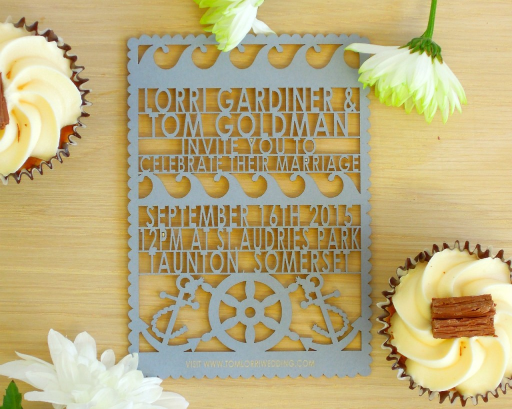 Lasercut nautical wedding invite Etsy