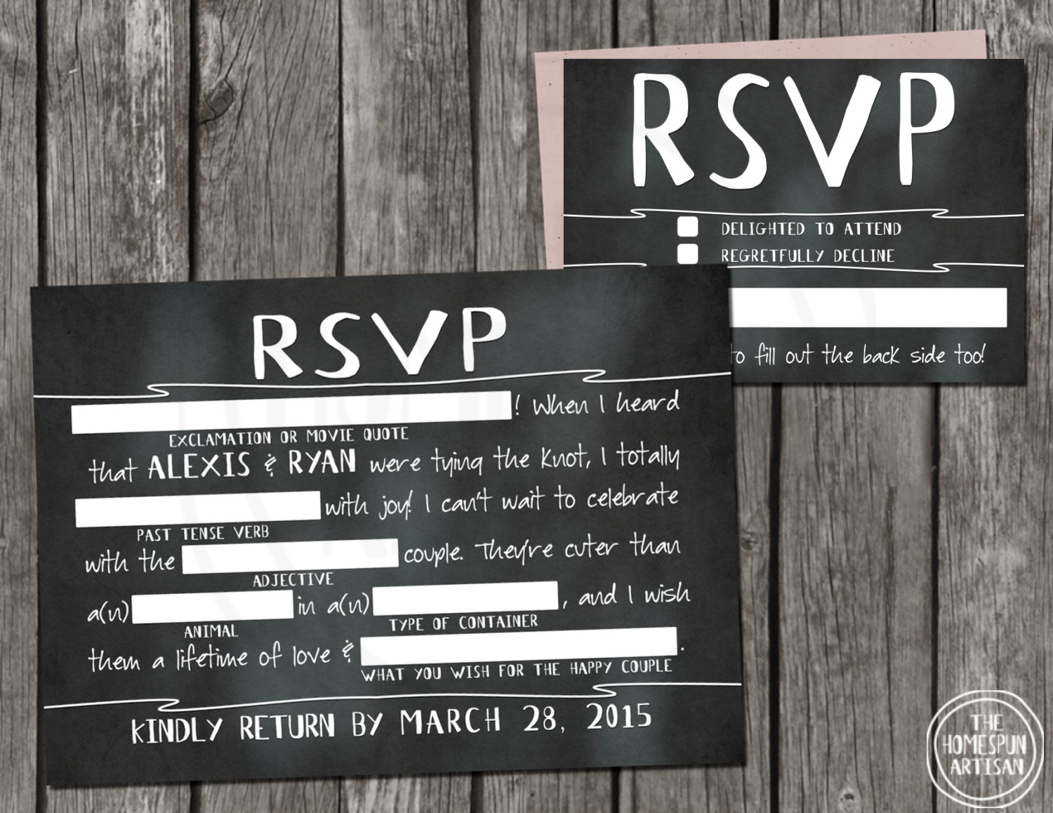Shopping for wedding invitations on etsy gorgeous stationery madlib chalkboard rsvp cards s2174 for a printable design file gumiabroncs Gallery