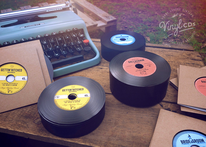 Vintage style vinyl CD wedding invitation