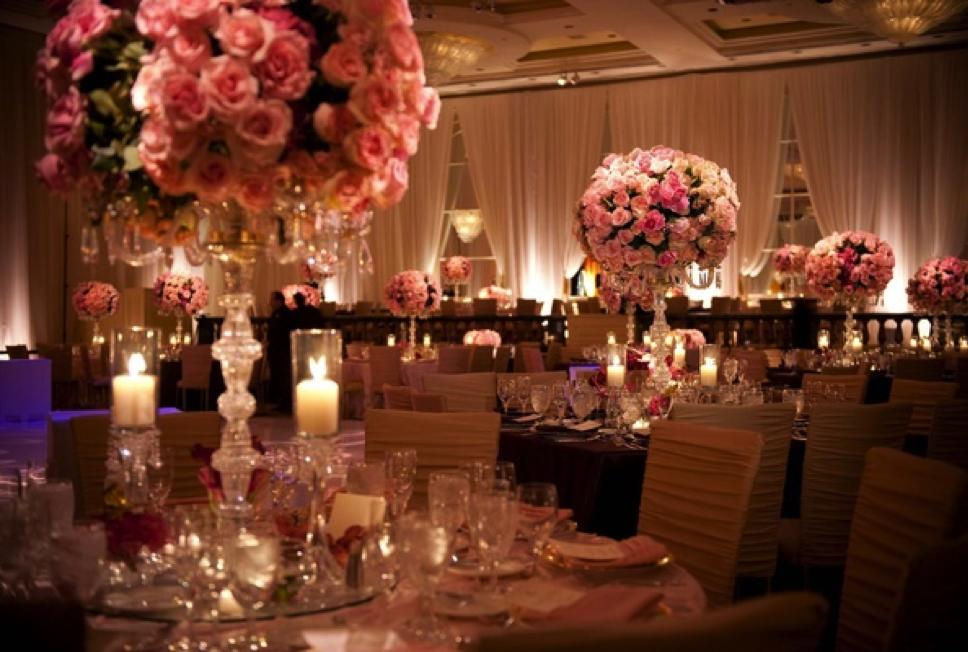 Rose candelabra wedding tablescapes