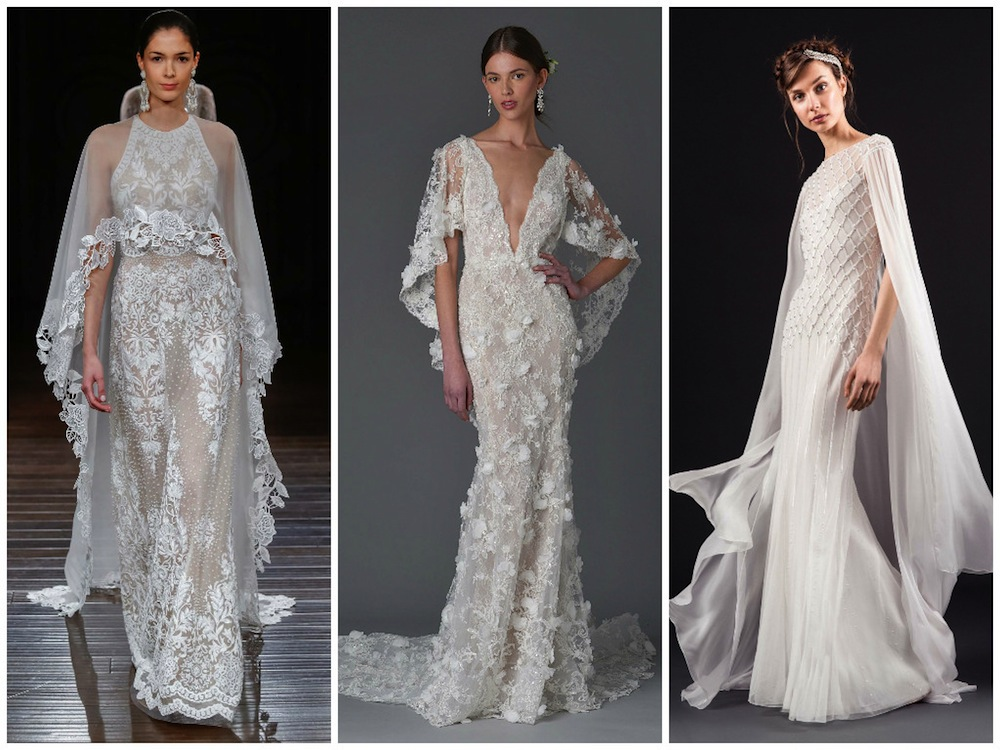 Designer wedding dresses: Bridal gown trends Fashion Week Spring 2017 Honeybrides capes