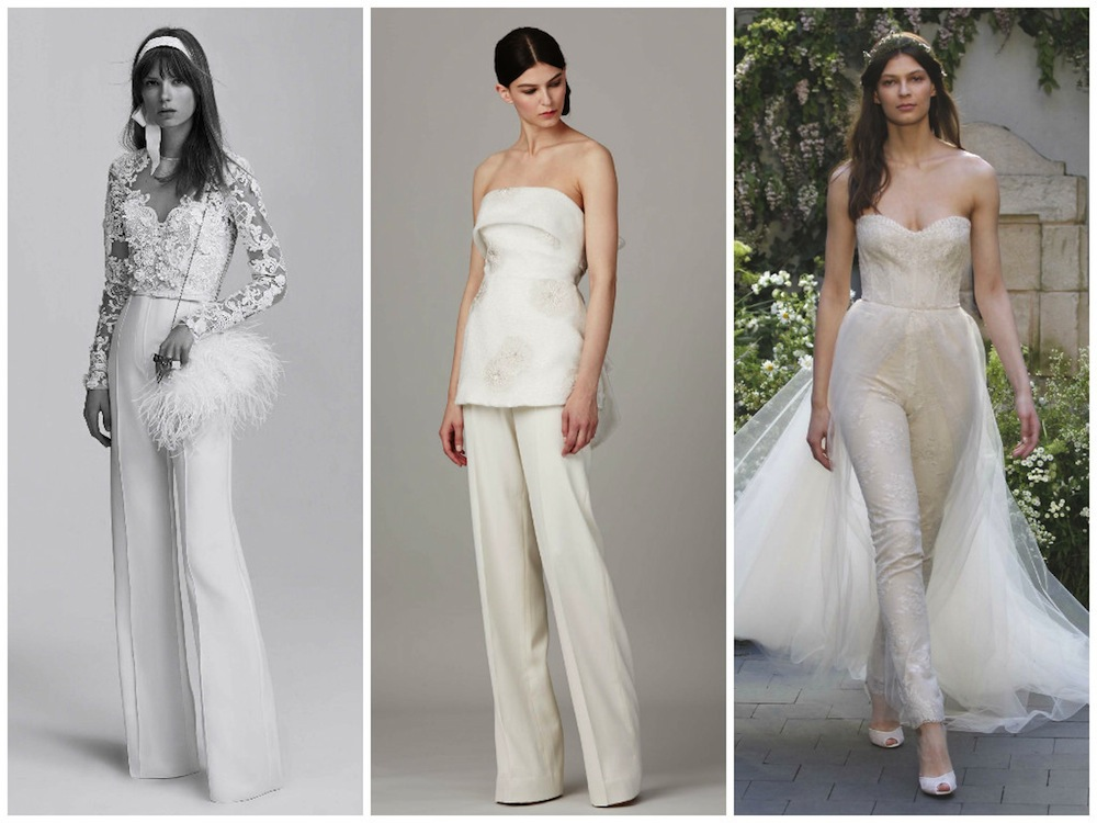Designer wedding dresses: Bridal gown trends Fashion Week Spring 2017 Honeybrides jumpsuits