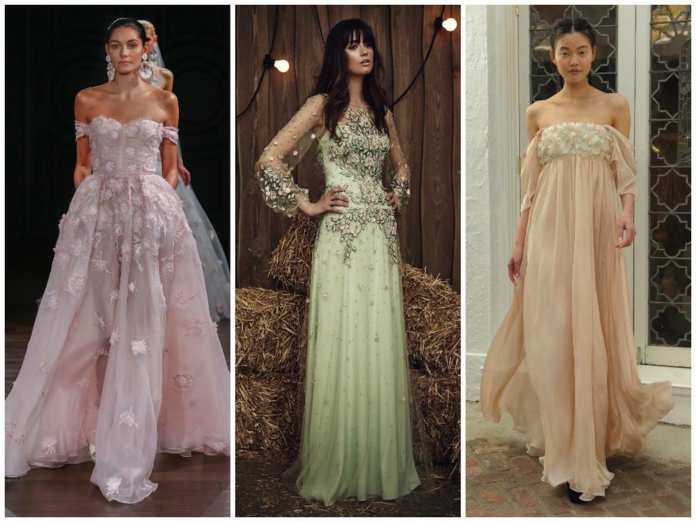 Designer wedding dresses: Bridal gown trends Fashion Week Spring 2017 Honeybrides pastel