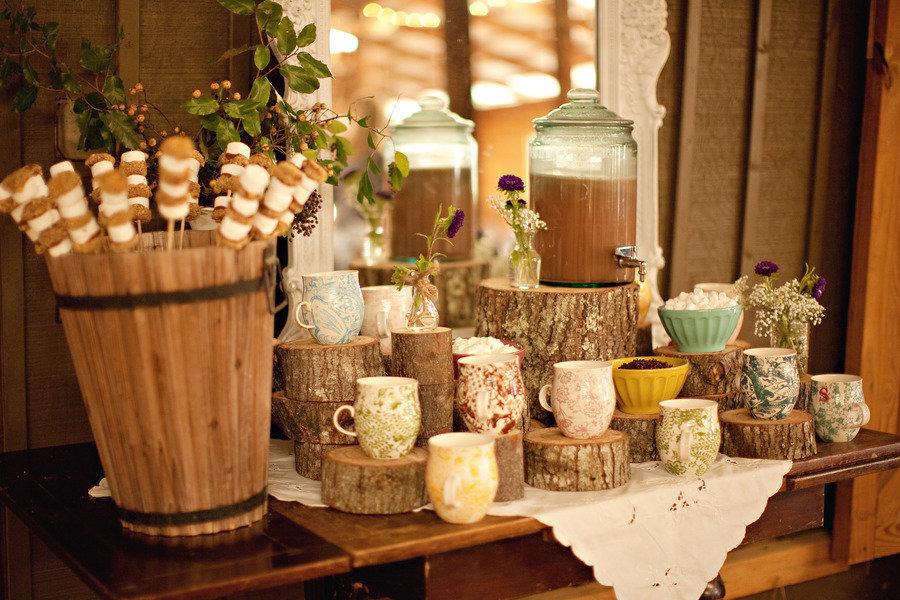 Hot chocolate bar at a wedding