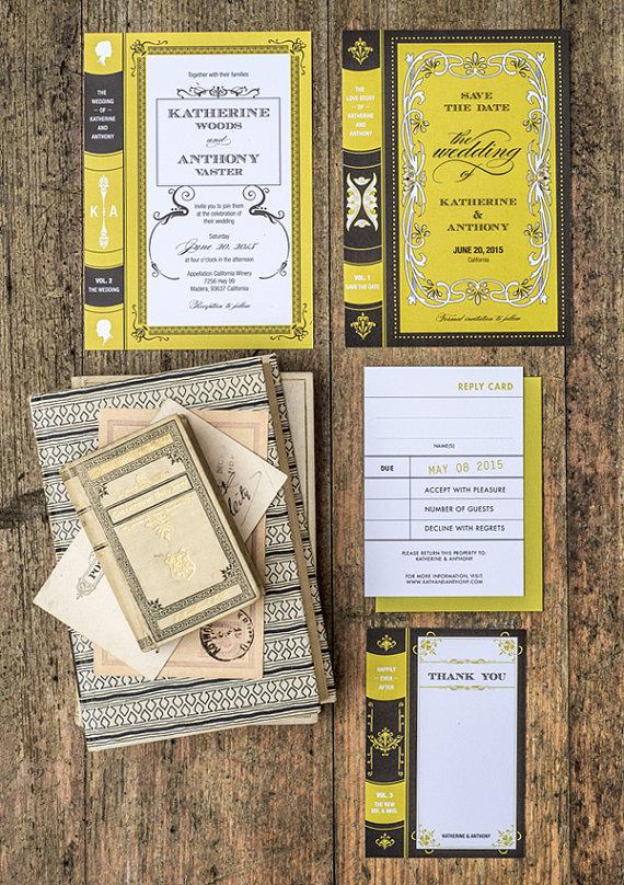 Book wedding invitation Etsy