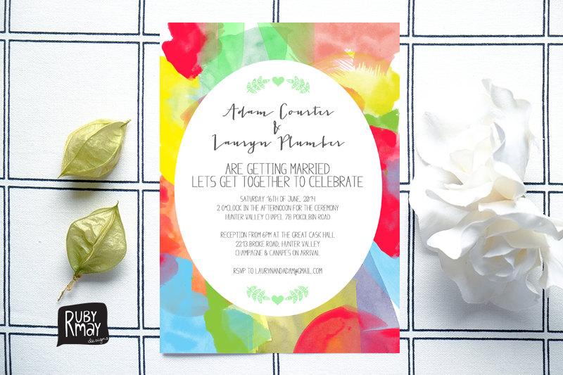 Colourful modern wedding invite
