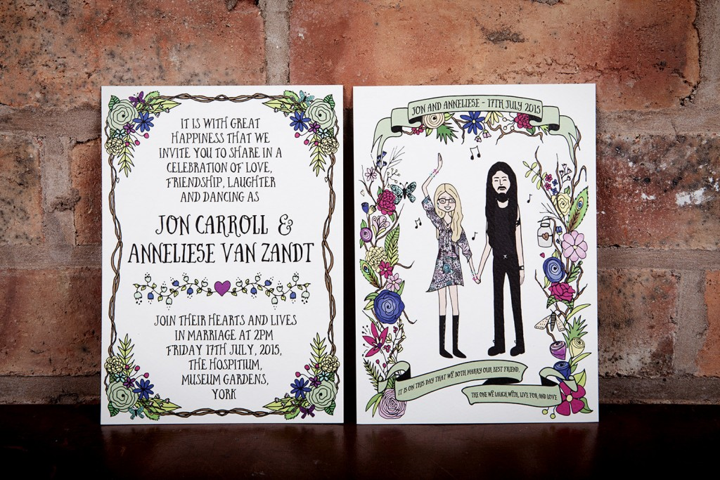 Custom portrait illustration wedding invite Etsy