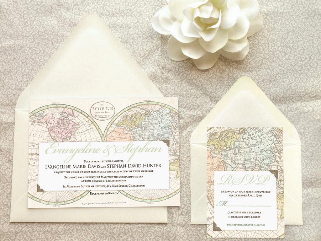 Old world map wedding invite Etsy