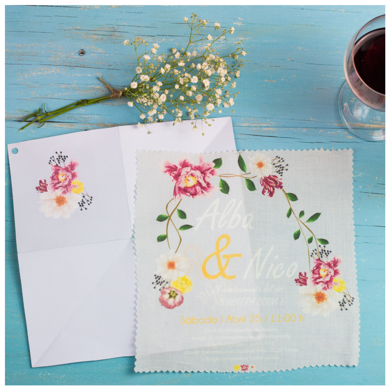 Vintage handkerchief invite Etsy - HoneyBrides