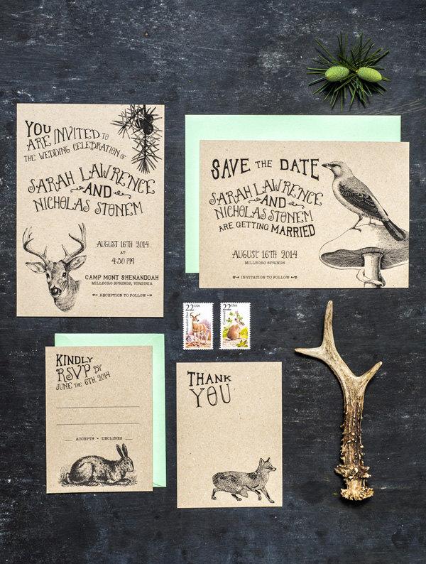 Woodland animal wedding invite Etsy