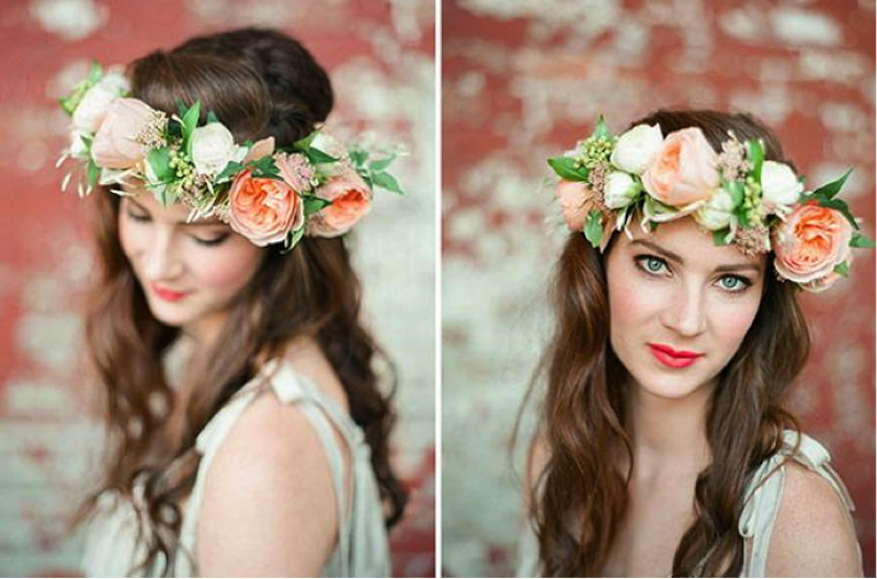 Wedding hairstyles: Beautiful floral crowns for boho brides